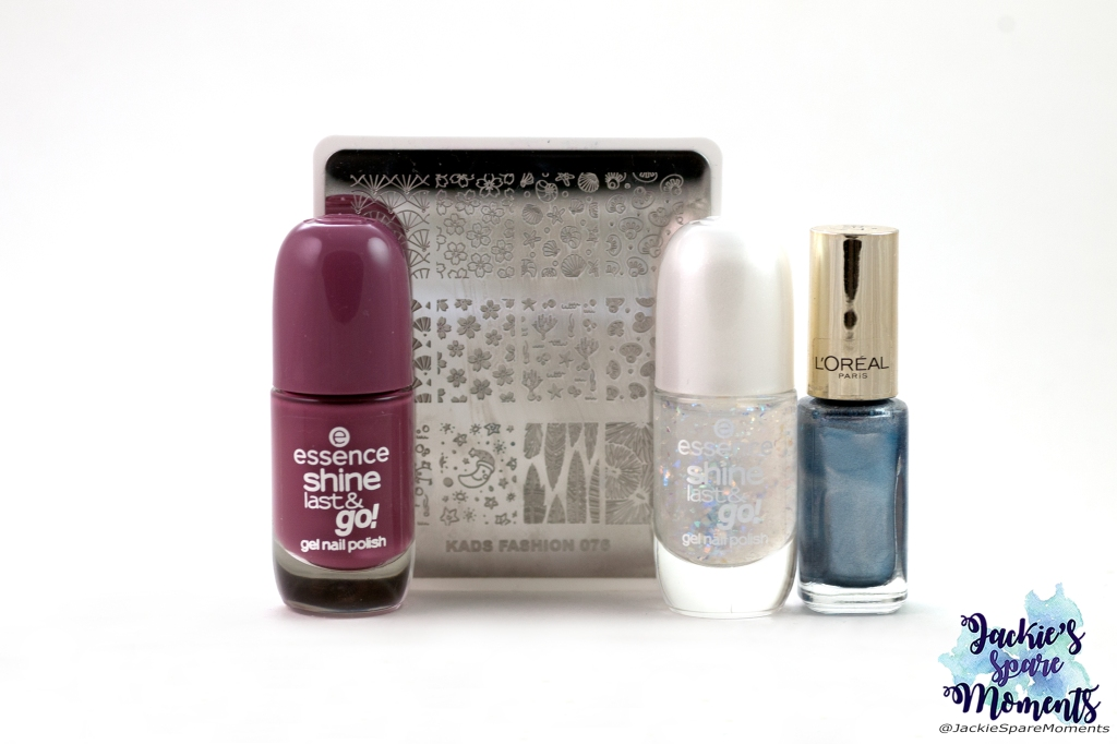 Essence shine last and go gel nail polish 79 Never let me down, KADS stamping plate Fashion 076, essence shine last & go gel nail polish 68 A star is born, L'Oreal color riche 817 Saphir treasure (for stamping)